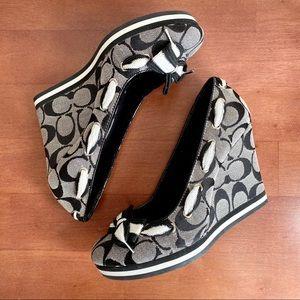 COACH Tena Classic C Logo Wedge Heels Shoelaces